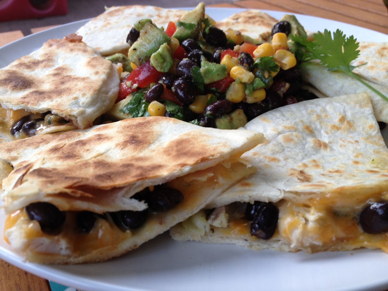 ... black bean and chicken quesadillas with a tomatillo and avocado sauce