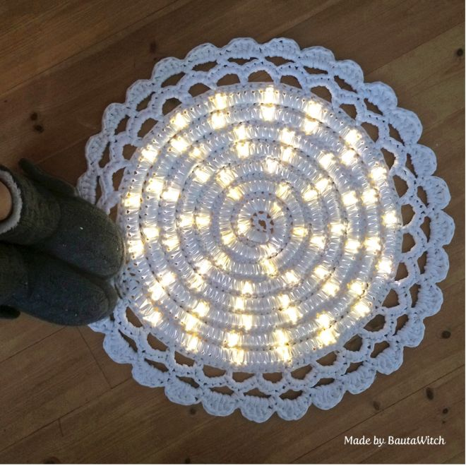 She Crochets Over A Strand Of LED Lights. Seems Odd, But By The End ...