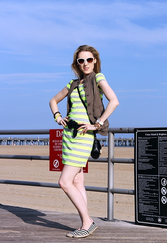 The Wind of Inspiration Outfit of the Day Post - Weekend Uniform - Velvet Torch Stripe Scoop Back Dress Asos Casual Vest Green Etienne Aigner Striped Espadrilles Vintage Braided Belt
