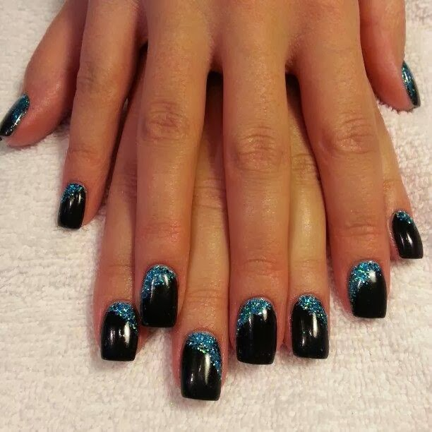 acrylic backfill with a LED polish manicure in 'abyss black' and tapped in glitz Pedicure Gel-Nails-Polish-LED-Polish-LED-Nails-Acrylic-Nails-Nail-Art