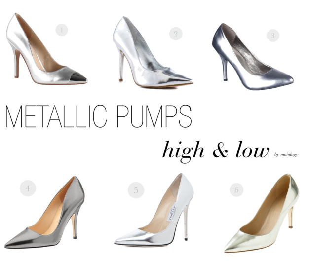 Metallic silver pumps, silver heels,