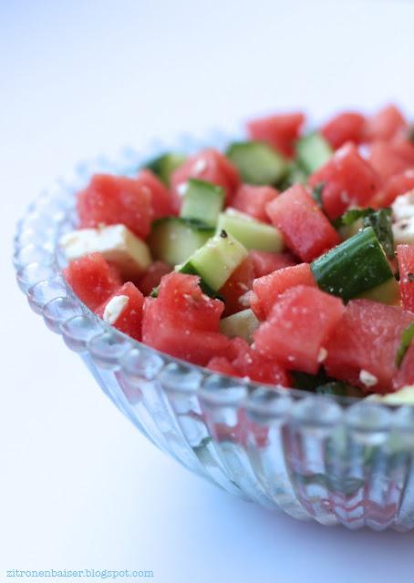 Rezept Wassermelone Melonensalat mit Feta Gurkensalat Minze Sommersalat Foodblog
