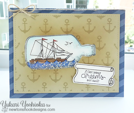 Message in a bottle Shaker Card by Yukari Yoshioka | Message in a Bottle Stamp set by Newton's Nook Designs