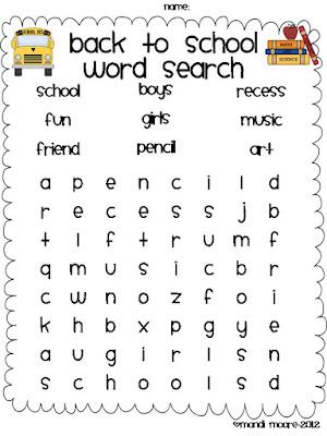 Easy Word Searches for Kindergarten http://moorefuninkindergarten ...