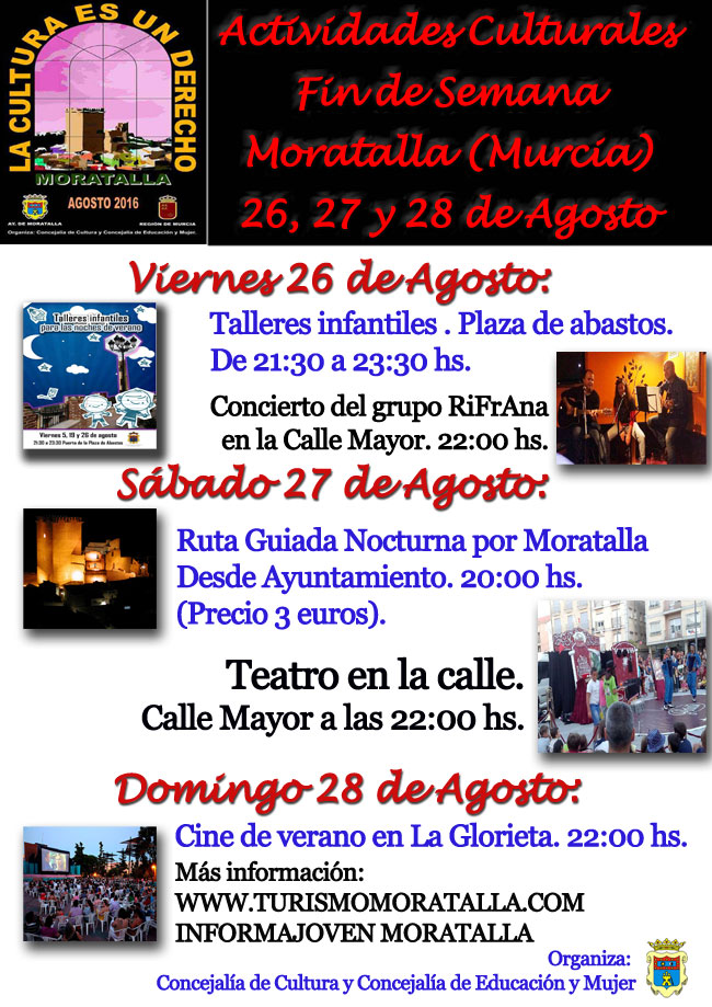 Actividades culturales próximo fin de semana en Moratalla: