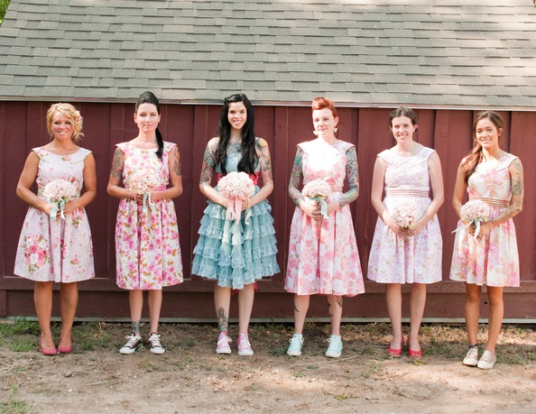 Modern Country Chic Wedding Dress : Examples of bridesmaids with tattoos and funky hair