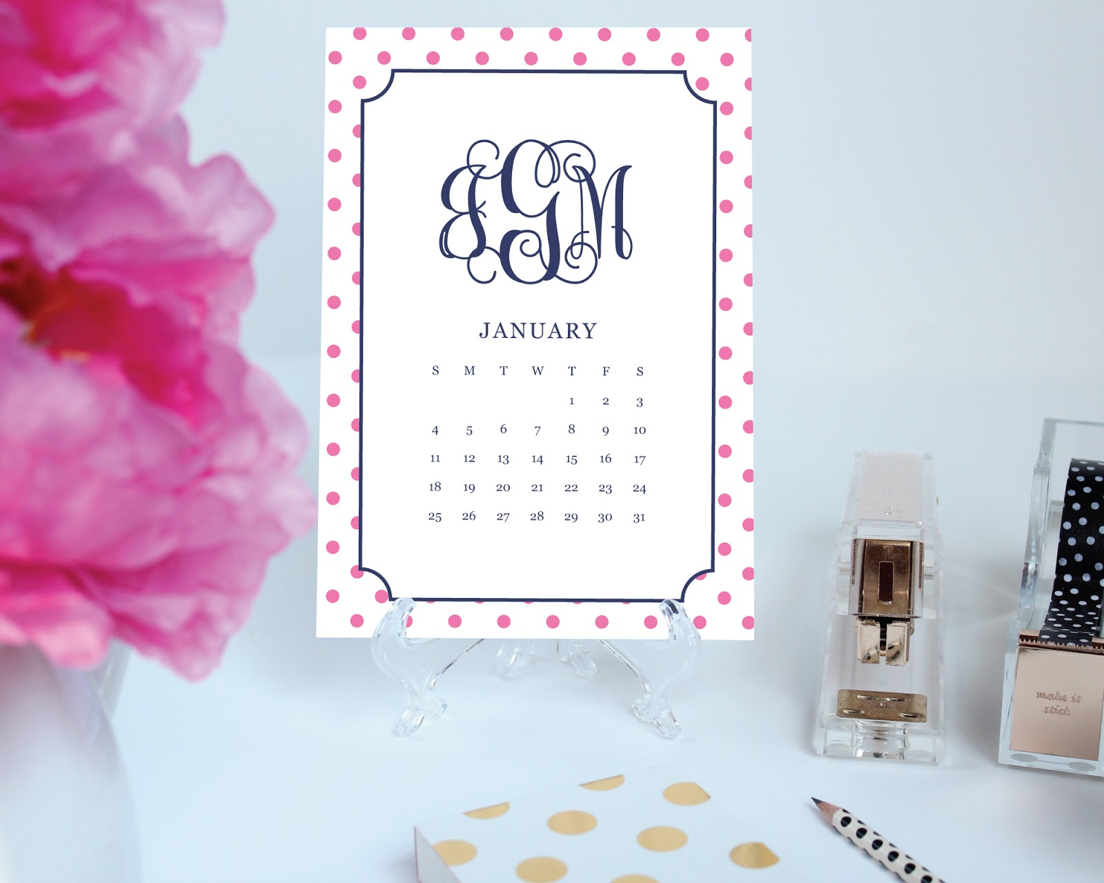 New [customized] Printable Desk Calendars from thepreppygreek.etsy.com