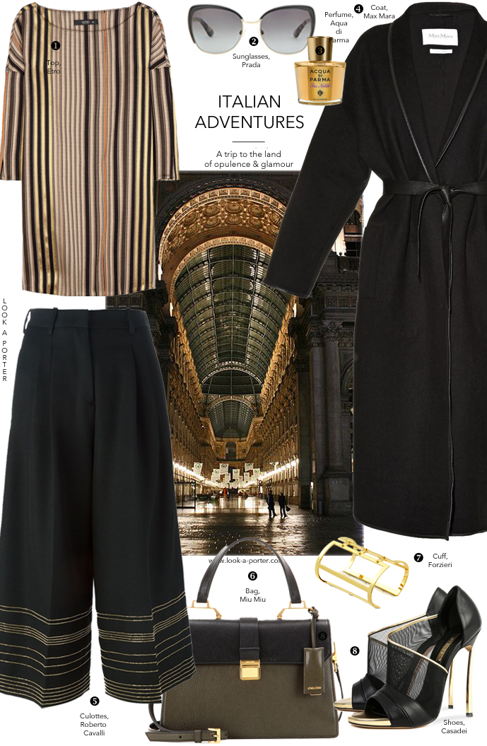 Lets mix trends and classics and style a pair of gorgeous Cavalli culottes, Italian-style, with a touch of gold. Via www.look-a-porter.com style & fashion blog