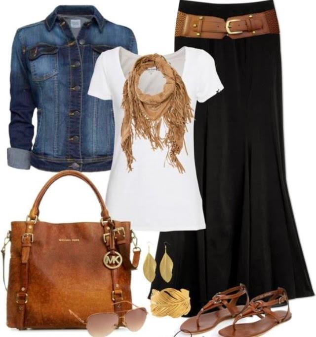 Jean jacket, white shirt, brown scarf, black skirt and brown hand bag
