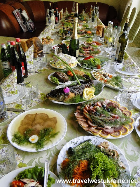 Appetizers at Ukrainian wedding table