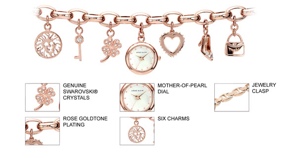 Anne Klein Women S Rose Gold Tone Charm Bracelet Watch 10 7604rgch