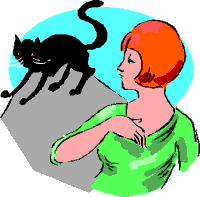 Black cat cartoon crosses woman's path clip art