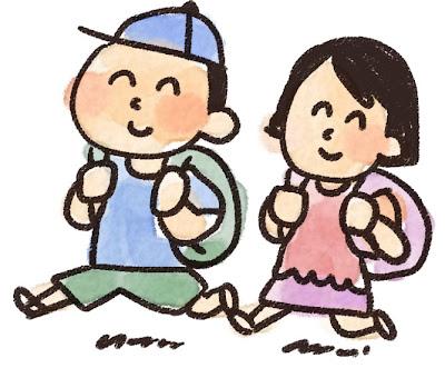 遠足のイラスト「男の子と女の子」