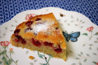 a slice of raspberry cake that takes like a jam-filled doughnut