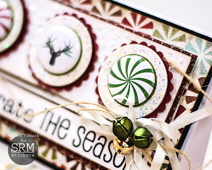 SRM Stickers Blog - A Christmas Card with Flair by Michele - #card #christmas #stickers #flair #bossyjoscie #twine #[unchedpieces