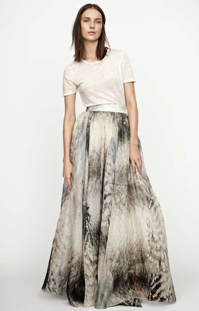 H&M Conscious 2015 Long Silk-Blend Skirt