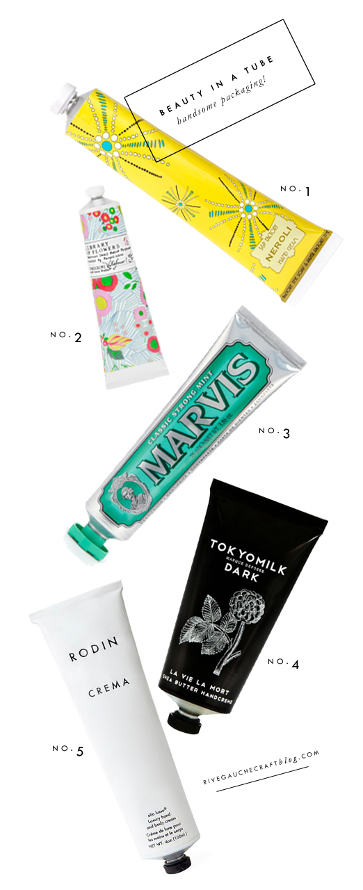 Pretty Packaging: Tubes!  via RiveGaucheCraftBlog.com