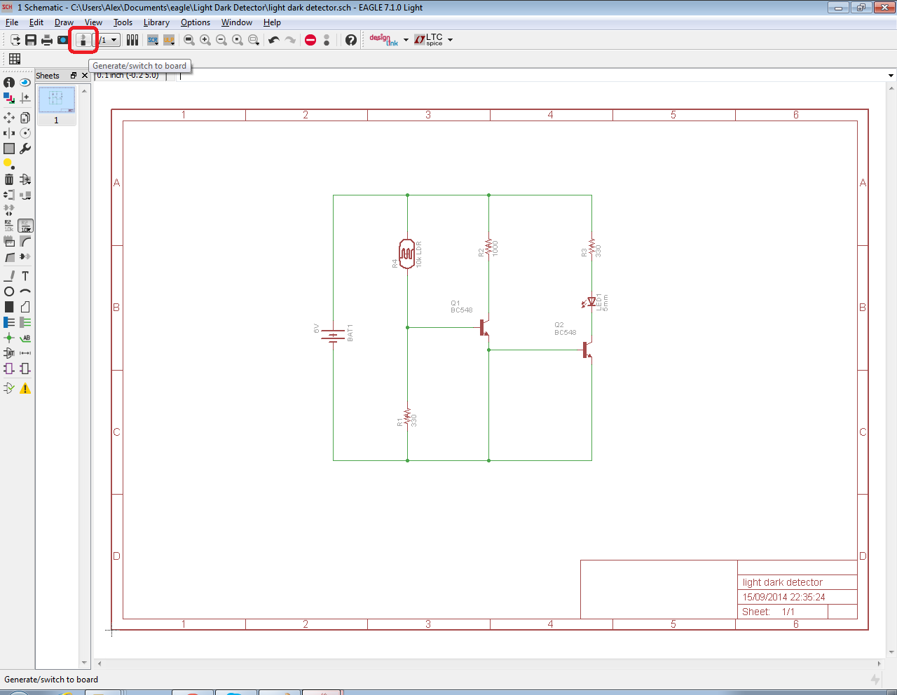 The Answer Is 42 How To Input A Schematic Diagram Using Cadsofts Eagle Circuit Board Software Pcb Click On Switch Icon In Top Middle Toolbar Of Editor You Can Also File Menu And Navigate