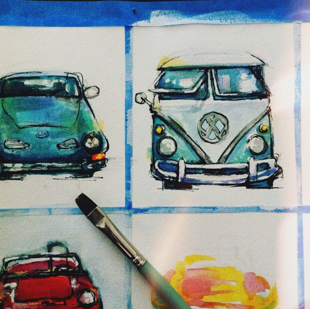 volkswagen bus carmengia watercolor illustration j shari ewing