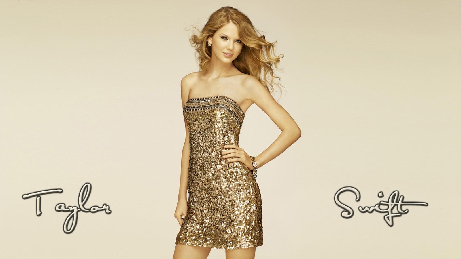 Taylor Swift Golden Dress Wallpaper HD