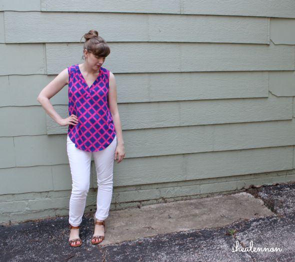 neon print top with white denim for summer | www.shealennon.com