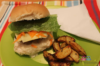 Homemade hamburgers and potato wedges