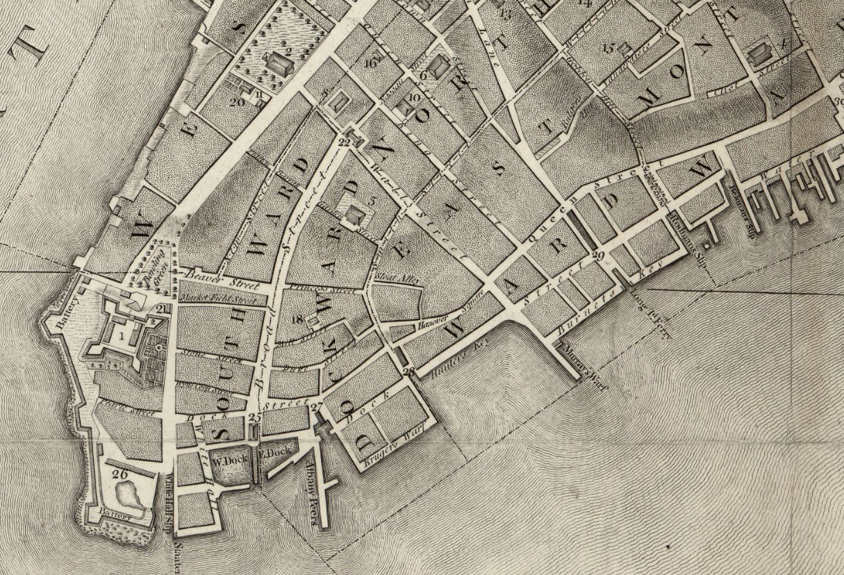 1776 ratzer map of new york city fort george is the structure on the left labeled 1 the triangular park above it is bowling green