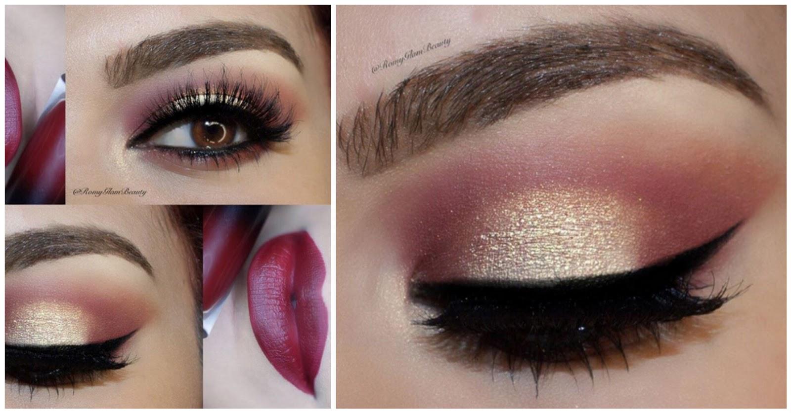 maquillaje de ojos rojo y dorado