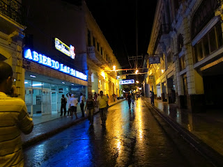 Santiago de Cuba downtown on a wet night