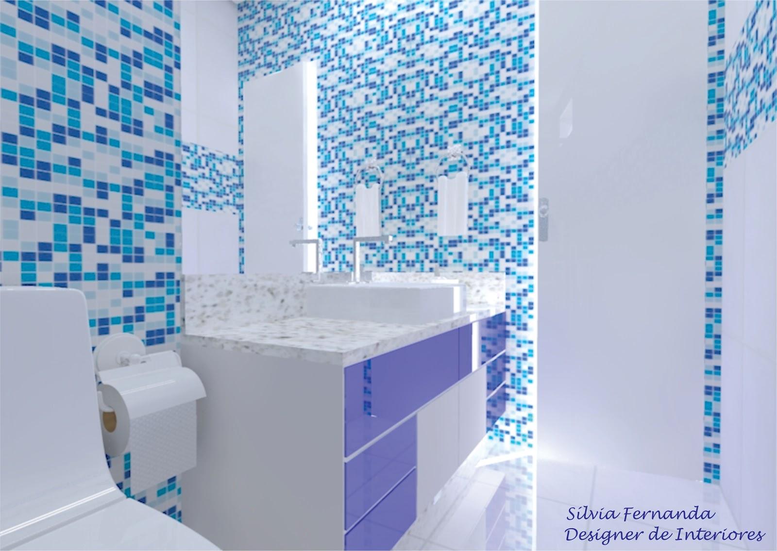 Criar Interiores : Banheiro azul e branco #1E86AD 1600x1135 Bancada Banheiro Azul