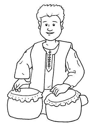 Tocando los tambores para colorear