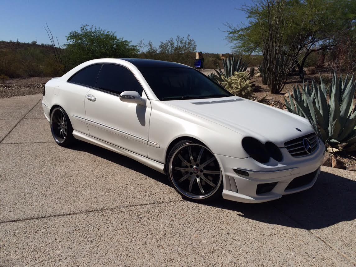 Mercedes benz w209 clk55 amg matte white benztuning for Matte mercedes benz