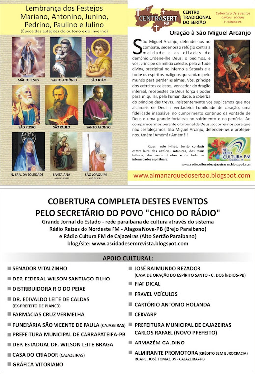 PROGRAMAÇAO ESPECIAL DO PERIODO JUNINO EM CAJAZEIRAS E REGIAO
