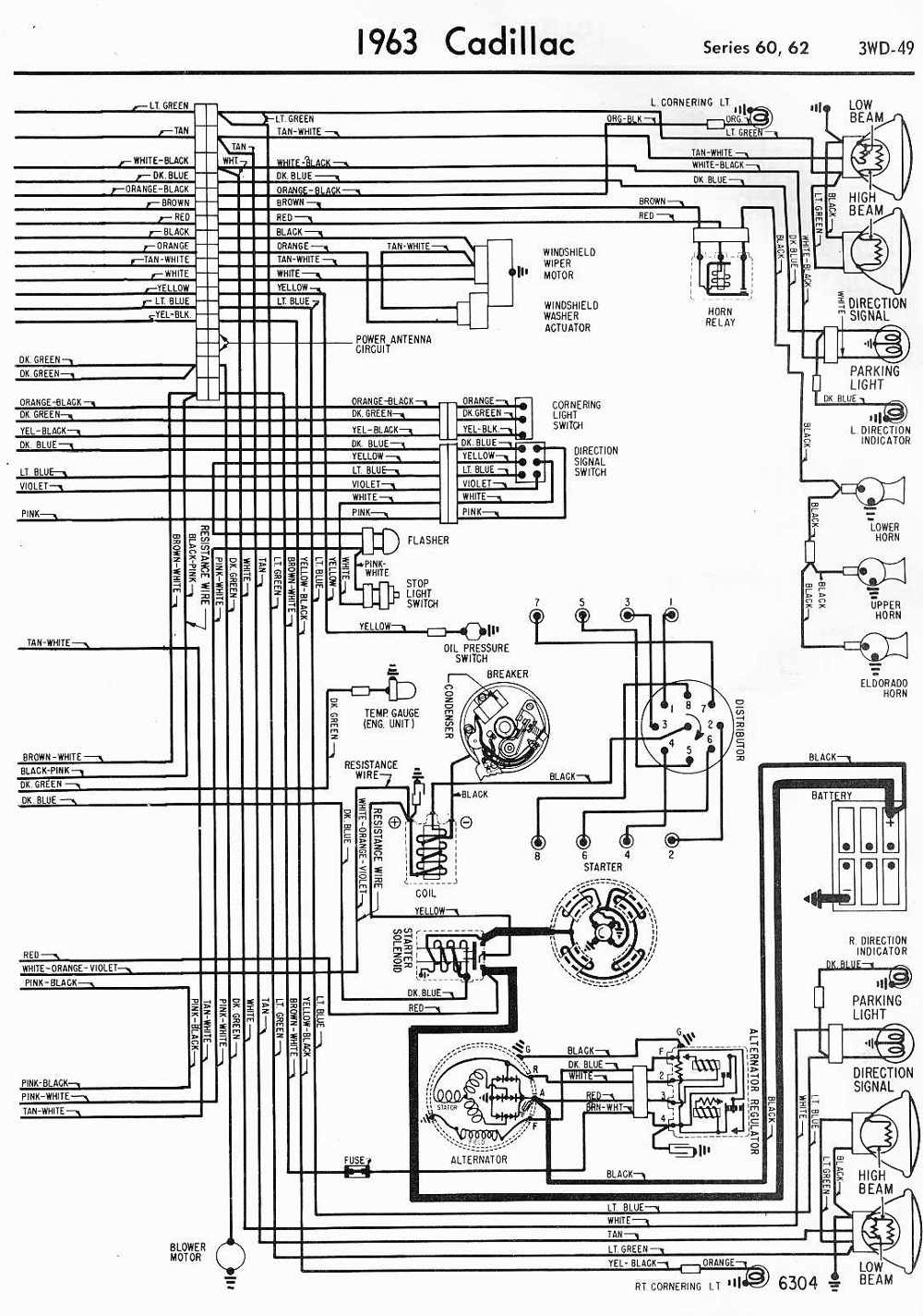 wiring diagrams schematics 1963 cadillac series 60 and 62 part 2 rh wiring diagram schematics blogspot com 1963 cadillac coupe deville wiring diagram 1962 Cadillac Vacuum Diagram