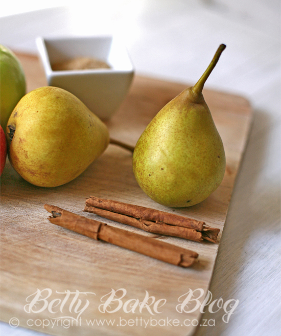 pears, cinnamon, betty bake, blog, wooden cutting board