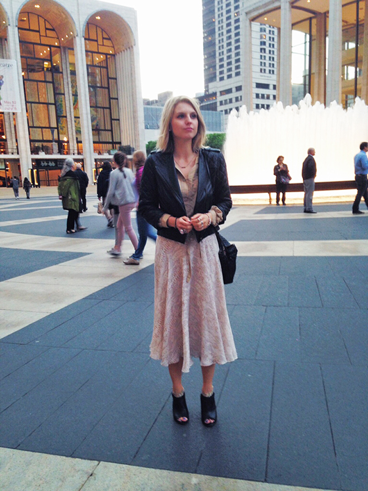 Pastels, neutrals, leather jacket, ASOS, Ann Taylor, Lincoln Center, peep toe leather booties, snake print