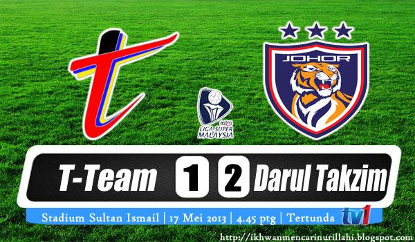 Keputusan T-Team vs Johor Darul Takzim 17 Mei 2013 - Liga Super 2013