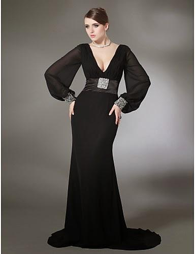 Vestido de noche de gasa y satén Doria