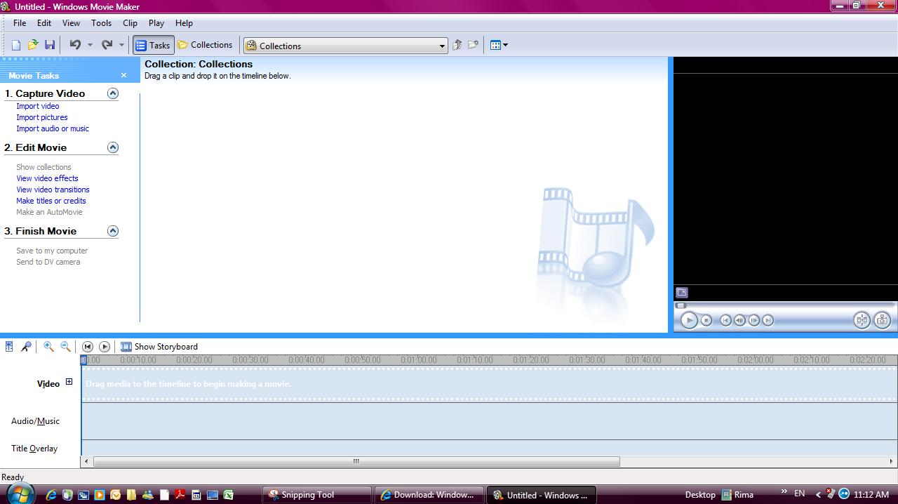 So , When You Open Windows Movie Maker 26, This Window Will Show Up :