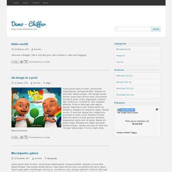 Chiffer Blogger Template convert from wordpress theme to blogger. minimalist design blogspot template