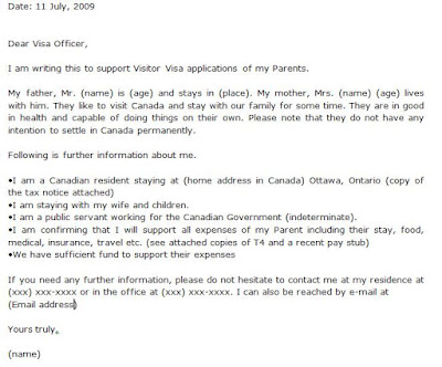 for canada visit visa and canada visit visa invitation letter sample