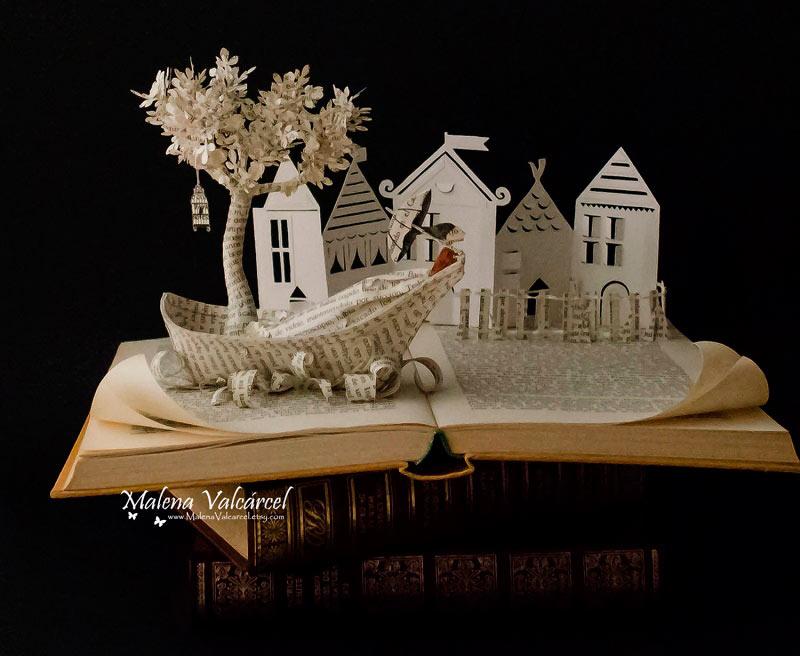 Esculturas de libros increíblemente intrincadas por Malena Valcárcel