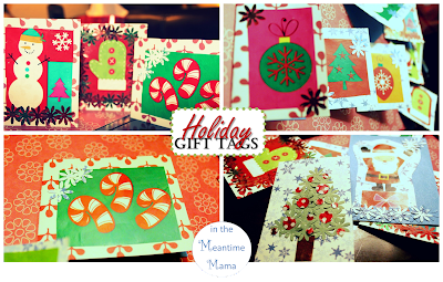 Crafty project for Christmas using wrapping paper scrapbook paper and construction paper