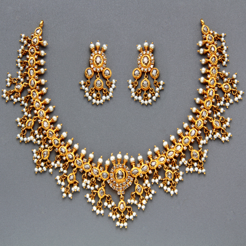 Indian Gold Necklace Set: Indian Jewellery And Clothing: Polki Necklace Sets From