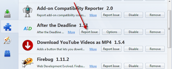 Report issues button in Firefox add-on manager window