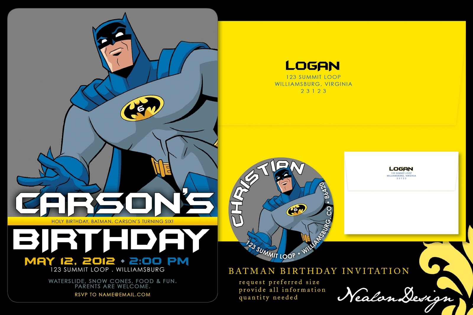 Nealon Design: BATMAN Birthday Invitation