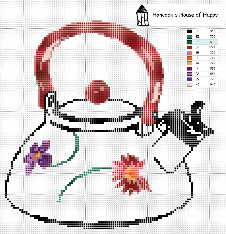 colourful tea kettle cross stitch chart