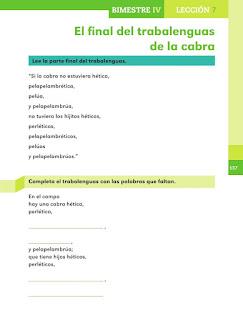 Apoyo Primaria Español 1er grado Bimestre 4 lección 7 El final del trabalenguas
