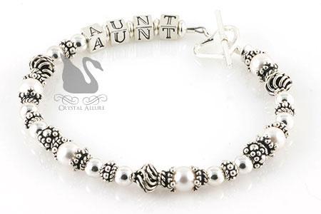 Sterling Bali Swarovski Pearl Aunt Bracelet (B111)