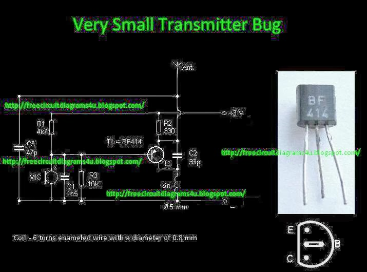 free circuit diagrams 4u very simple fm transmitter bug Wiring Schematic Diagram 200m Fm Transmitter Simple Circuit what powerful fm transmitter the special thing of this circuit is we can operate this circuit with 3v here you can use bf414 bf324 bf606 transistor